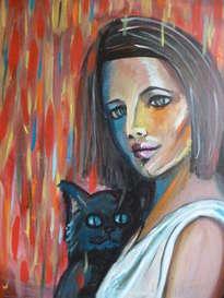 ella y gato en la lluvia de estrellas