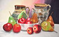 bodegon de manzanas y peras