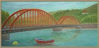 barca junto al puente (pastel)