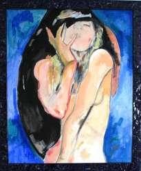 mujer y azul
