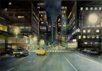 n.y night - acuarela / papel - 100 x 70