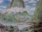 cabaña y cascadas