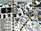 universo en blanco, negro y amarillo