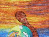 mujer embarazada técnica mixta sobre lienzo 175x130 cm
