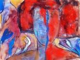 mujer en rojo y azul