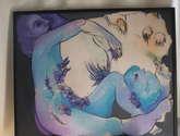 composición en azules y violetas