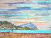 vista de la isleta desde la playa del arco