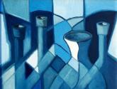 jarrones y botellas., azul.