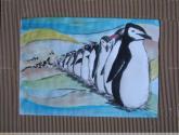 fila de pinguinos