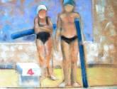 dos niñas en la piscina