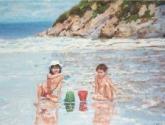 mis hijos en la playa del aguilar. (no venta)