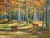 bosque de otoño con ciervos