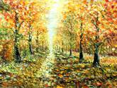 landscape painting gold autumn by rybakow valery