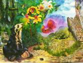 flora y fauna en el santuario de machupicchu - artista efrain aranibar