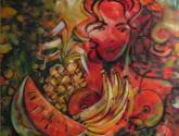 mujer , fruta deseada