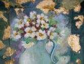 pintura y collage de bordado de tela ypan de oro