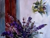 bodegon . jarro y flores silvestres