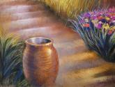 vasija y flores