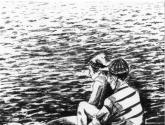 homens à beira mar