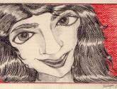 mujer de sonrisa roja