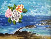 flores sobre el mar