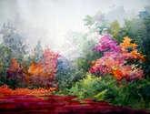 flowers garden inside a forest