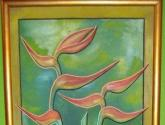 flores y vasija sobre fondo verde y cafe