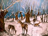 ciervos en la nieve