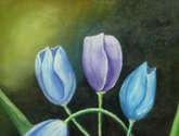 tulipanes en azul