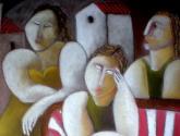 sofa amb tres dones