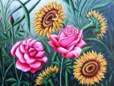 girasoles y rosas