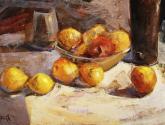 bodegón con manzanas y limones