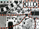universo en blanco, negro y naranja