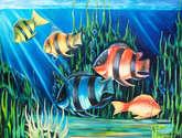 peces en fondo del mar