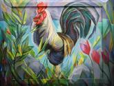 gallo y flores