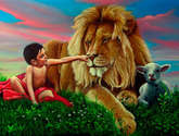 profesía 1 : el leon pastará con la obeja y un niño los guiará.