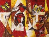 la mujer de rojo y alas amarillas