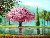 o lago na primavera