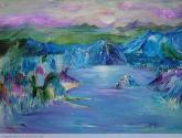 lago de un mundo azul