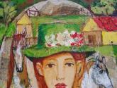 mujer con sombrero verde