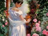 dama en el jardin