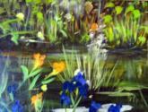 estanque con lirios amarillos