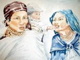 dos mujeres indígenas y niño