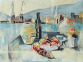 bodegón;jarrón y frutas