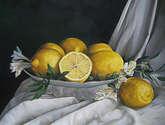 limones, frutera y paño.