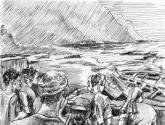 momento de chegada dos botes