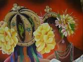 mujeres con flores.
