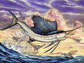 sailfish and flying fish in the sunset