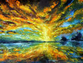palette knife painting: magic sunrise over the lake