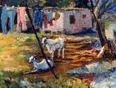 cabras en el patio